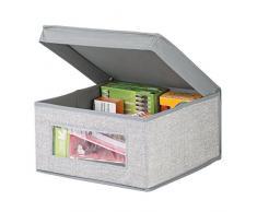 mDesign Scatola contenitore con coperchio – Perfetta come contenitore per ufficio – Scatola per armadio in tessuto sintetico – Soluzione pratica e multiuso – Colore: grigio