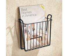 InterDesign Classico Portariviste da parete, porta riviste o tablet in metallo, nero opaco