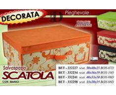 Scatola telata salvaspazio cm48*36*19 pieghevole portabiancheria decorata con manico; 4 colori assortiti (verificare disponibilità)