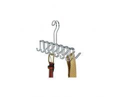 iDesign Organizer armadio con 14 ganci, Portacravatte piccolo in metallo cromato, Porta cinture ideale per cravatte e accessori, argento