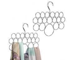 mDesign Porta sciarpe e portasciugamani - Pratico organizer armadio per conservare teli, scialli, foulard, salviette, cravatte, bandane - 18 anelli - Colore: cromato - Set da 2