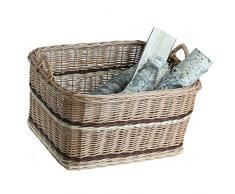 vollwe idener camino Cestino, Cestino in vimini, cestino di vimini naturfarbiger per legna da ardere, Cesto portalegna per camino, con maniglie, vibrazione, giocattoli vibrazione, wӓschekorb