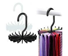 Zuzer Porta Cravatta, 4pcs Portacravatte Plastica Portacinture Multiuso Porta Cravatte Tie Rack,Bianco e Nero