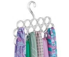 mDesign porta sciarpe salvaspazio - perfetto per tenere in ordine sciarpe e foulard nellarmadio ma anche come portacravatte - 16 anelli - colore: trasparente