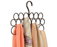 InterDesign Axis Appendino porta sciarpe con 18 anelli, Organizer per guardaroba per sciarpe, foulard, cravatte e cinture in metallo, color bronzo