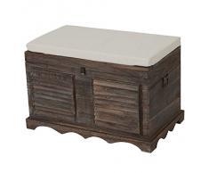 Serie vintage baule contenitore cassapanca legno paulonia 45x76x50cm ~ marrone