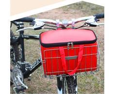 Foxom Pieghevole Cestino per Bicicletta, 33×21×20cm, Zincato Placcato Argento