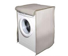 Vetrineinrete® Coprilavatrice con Chiusura a Zip per lavatrici con carico Frontale Telo Protettivo Copertura per Lavatrice con Fantasia a Righe Beige 60x60x80 cm G57