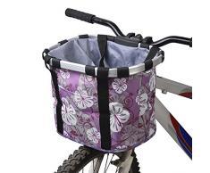 Ducomi Cestino Bicicletta Anteriore Universale per Cani di Piccola e Media Taglia - 34 x 28 x 25 cm - Cestino Bici Portaoggetti Staccabile in Tela Super Resistente e Impermeabile da Manubrio (Purple)