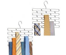 mDesign Set da 2 Portacravatte – Pregiato appendino per cravatte con 23 comodi scomparti – Pratica gruccia appendi cravatte per sistemare in modo ordinato le cravatte – argento