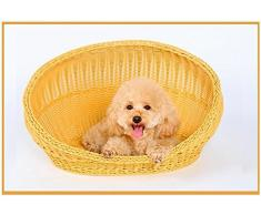 STAZSX Cuccia in Rattan Quattro Stagioni Rattan Nido Canile Summer Dog Teddy Cat lettiera Cestini di bambù Impermeabile Forniture per Animali Estate, 40X30X31CM