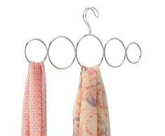 InterDesign Classico Asta Portasciarpe 5 Anelli, Metallo, Argento, 32.5x0.25x28 cm