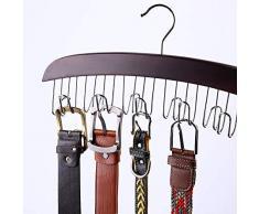 Appendi-abiti Ohuhu, Organizer per Cintura a 12 ganci per armadio, Porta Cinture, Tiene le Cinture, Cravatte, Sciarpe, Abbigliamento, Accessori per Uomo e Donna, Legno Duro Robusto, Noce