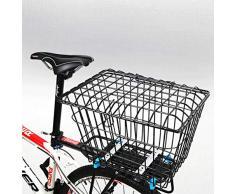 N / A Cestino Posteriore per Bici A Sgancio Rapido per Lo Shopping in Campeggio, Cestelli di Sollevamento per Biciclette Antiruggine con Supporto, Cestello Portaoggetti