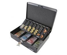 HMF 10015-02 Cassetta Portavalori con Vassoio Porta Monete e Banconote 30 x 24 x 9 cm , nero