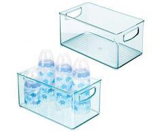 mDesign Set da 2 Scatole profonde - Perfette come organizer per cameretta - Contenitore portaoggetti in plastica senza BPA con manici - azzurro
