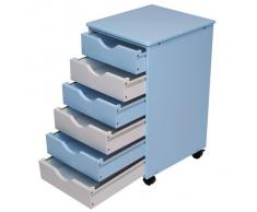 Infantastic Cassettiera comò per bambini di legno ca. 36/40/65 cm colore blu/bianco