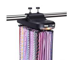 Macabolo Cravatta elettrica motorizzata porta cintura rotante, organizer con display con batteria a LED per uomo
