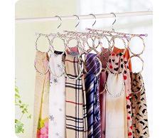 Kentop Supporto pieghevole per esposizione gruccia multifunzione porta sciarpe con 28 fori per fazzoletti, porta cravatte, colore casuale