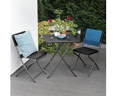 Park Alley Sedie da Giardino Set da 2 - Sedia in Acciaio e Plastica HDPE Effetto Rattan - Ideale per Esterni, Giardino o Balcone - Colore Nero