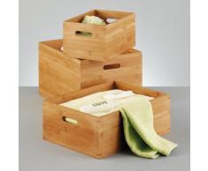 Zeller 13342 Cesto Contenitore, Bambú, Beige, 40x30x21 cm