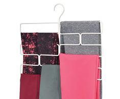 mDesign Compatto appendino per sciarpe, leggings e teli – Organizer con 8 comodi scomparti da appendere nell'armadio – Porta sciarpe in metallo – bianco