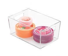 mDesign Organizer armadio e cassetti - Ideale contenitore multiuso per giocattoli, cosmetici, utensili, vestiti, coperte - Scatola portaoggetti bagno e casa - Trasparente