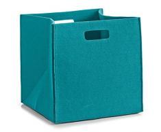 Zeller, Cesto portaoggetti rettangolare in feltro, Blu (Blau)