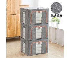 Armadio vestiti 3 pz scatole con coperchio con cerniera, tessuto traspirante Windows design per stagionale organizzazione porta abiti, grigio