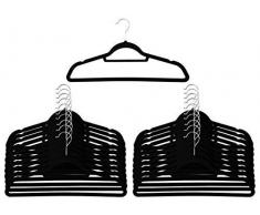 20 grucce antiscivolo in velluto nero con Cintura porta-sciarpe/foulard, colore: ultra slim