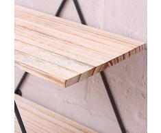 Scaffale per libri in legno libreria in ferro scaffale appendiabiti per mensole appendiabiti da parete in legno massello retrò espositore per scaffali per la casa (gli ornamenti non sono inclusi)