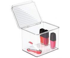 mDesign Contenitore in plastica - scatole in plastica con coperchio, portaoggetti perfetti per cucina, bagno, ufficio - impilabile - trasparente