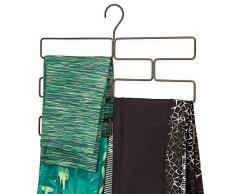 mDesign Compatto appendino per sciarpe, leggings e teli – Organizer con 8 comodi scomparti da appendere nell'armadio – Porta sciarpe in metallo – bronzo
