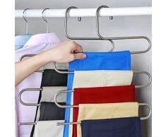 3 Pezzi Appendiabiti Pantaloni Salvaspazio Acciaio Inossidabile S-tipo 5 Strati Grucce per Armadio Appendini Spazio Risparmio per Pantaloni Sciarpa Cravatta Asciugamani (3)