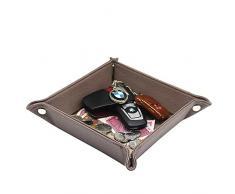 UnionBasic, contenitore vassoio per gioielli, chiavi, monetine, cellulare, in pelle sintetica PU Brown