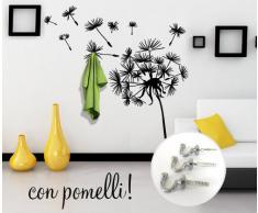 00406 Adesivo murale con ganci per appendiabiti Wall Art - Soffione appendiabiti 2 - Misure 155x160 cm - nero - Decorazione parete, adesivi per muro, carta da parati