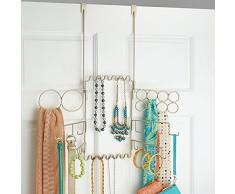 mDesign Porta-accessori per anelli, orecchini, bracciali, collane, cinture, sciarpe, da appendere alla porta, colore: bronzo
