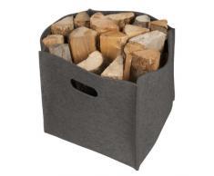 Cesto in feltro, grigio, Camino cestino, legno fuoco, cestino in feltro