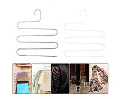 takestop® GRUCCIA Antiscivolo serpentina SALVASPAZIO RF_59627 Multistrato Salva Spazio APPENDI Sciarpe Foulard Pantaloni Jeans Colore Casuale
