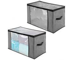 mDesign Set da 2 Scatole per armadi extra-grandi con cerniere e finestre - Scatole contenitori in plastica e fibra sintetica - Scatole per vestiti, biancheria, lenzuola, accessori - grigio e nero