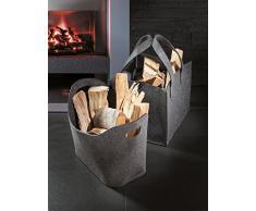 Kamino-Trend - Cesta di feltro per la legna del camino, ovale, con 2 manici, in forme varie, Feltro, rosa, Quantità: 1 pezzo
