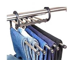 Cosanter - Appendiabiti 5 in 1 in acciaio inox, salvaspazio, per pantaloni, jeans, cappotti, asciugamani, pantaloncini