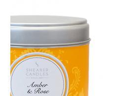 Shearer Candles - Candela profumata allambra e Rosa in Barattolo in Acciaio Inox con Decorazione Primaverile, 7,5 x 7,2 cm, Colore: Argento