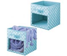 mDesign Set da 2 Contenitori per armadio - Scatole per armadi per coperte o vestitini - Scatola portaoggetti in fantasia a pois e con finestrella - turchese e bianco