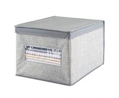 mDesign Scatola contenitore con coperchio - Scatola grande per armadio in fibra sintetica - Perfetta anche come contenitore per ufficio - Soluzione pratica e multiuso - Grigio