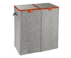 WENKO 3440402100 Portabiancheria DUO Feltro arancio - cesto della biancheria, 2 scomparti, 82 L, Feltro, 52 x 54 x 28 cm, Grigio