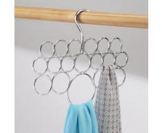 InterDesign Axis Porta sciarpe, Organizer per guardaroba per sciarpe, cravatte e cinture in metallo, Set da 4 appendini con 18 anelli, argento
