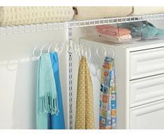 mDesign organizer appendibile – Ideale come portacravatte e appendisciarpe – Colore: bianco – Materiale: Acciaio