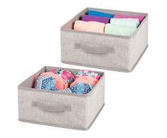 mDesign Set da 2 comode scatole per armadi - Scatola contenitore per biancheria, vestiti e accessori - Pratico organizer armadio in stoffa - beige