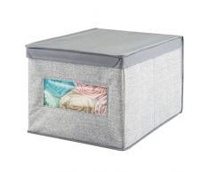 mDesign Scatola contenitore - Scatola per armadio in tessuto - Perfetto anche come contenitore per giocattoli - Pratico contenitore con coperchio